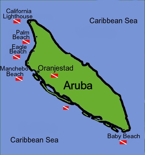 Map and diving sites in Aruba