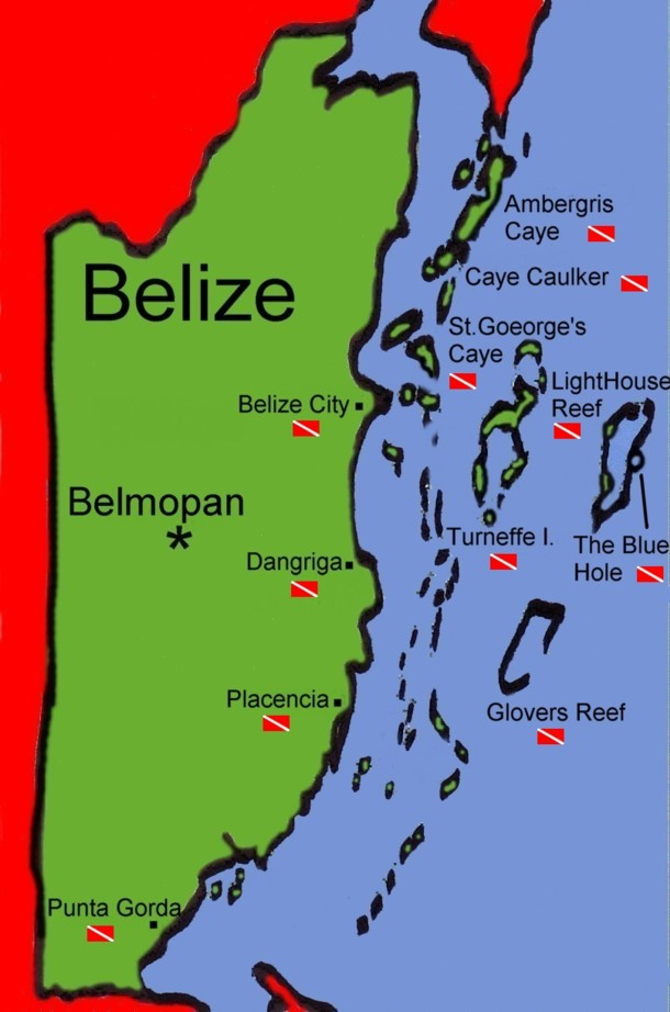 Belize Map - Diving Map With Belize Dive Sites