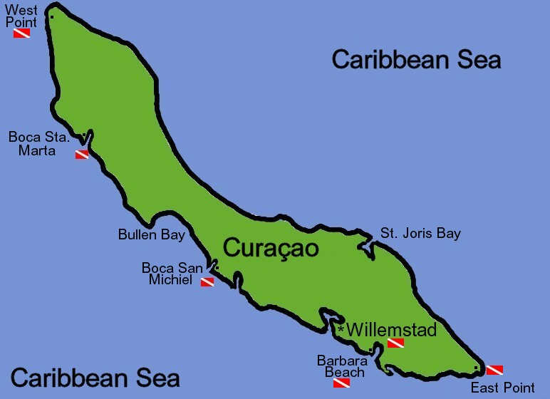 Map and diving sites in Curacao