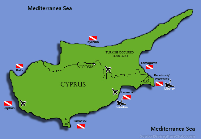 Cyprus diving map