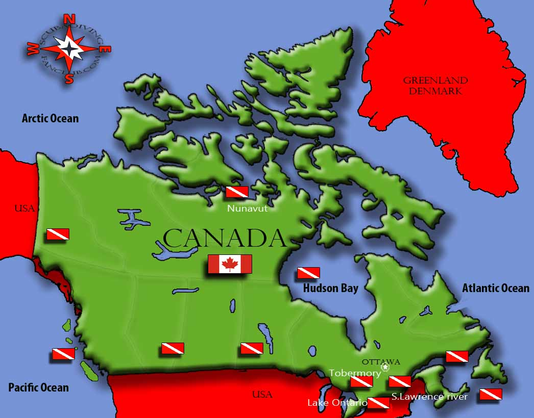 diving in Canada map