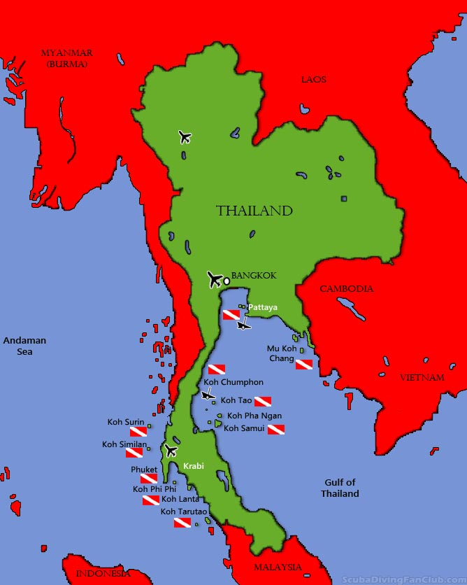 Thailand diving map
