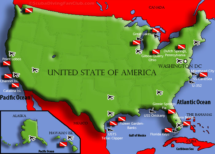 diving in the USA map