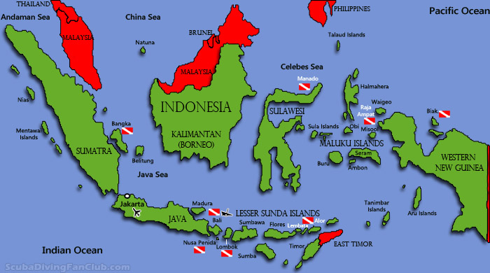 Indonesia diving map