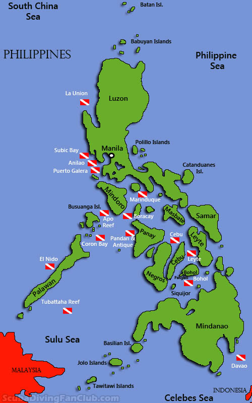 Philippines Diving map