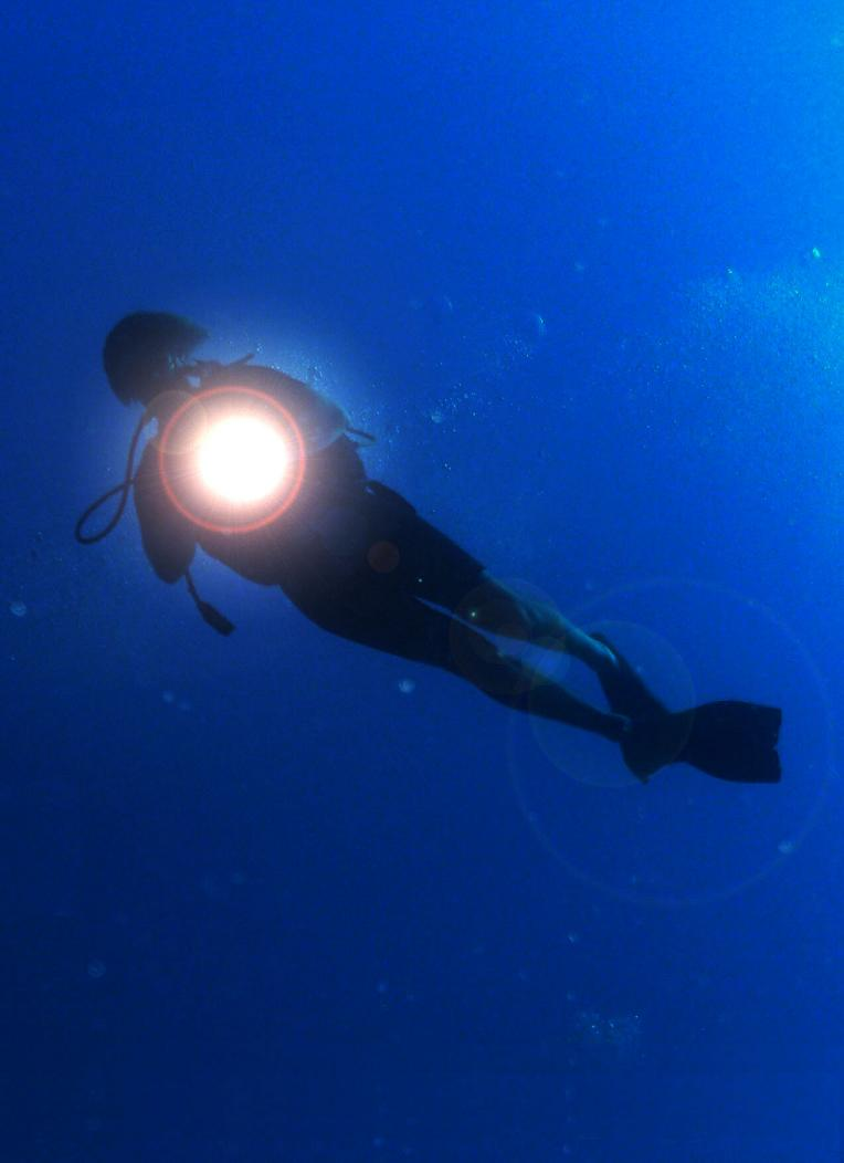Avoid shining your light in other divers' eyes