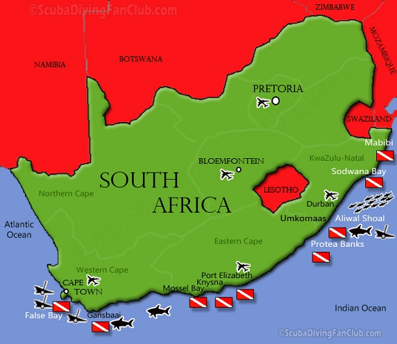 Gansbaai South Africa Map.Diving In South Africa Information Dive Sites